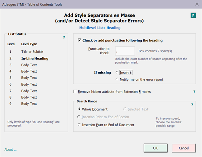 Adaugeo numbering microsoft word styles legal numbering software add style separators en masse malvernweather Gallery